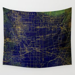 Pasadena antique map year 1896, blue and green artwork Wall Tapestry