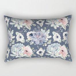 Beautiful Succulent Garden Navy Blue + Pink Rectangular Pillow