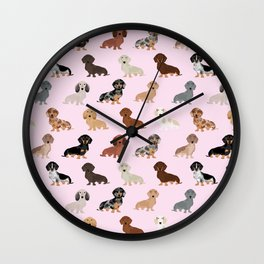 Dachshund dog breed pet pattern doxie coats dapple merle red black and tan Wall Clock