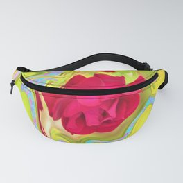 Cool Red Rose Abstract Art 096 Fanny Pack