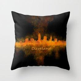 Cleveland City Skyline Hq V4 Throw Pillow
