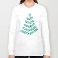 turquoise Long Sleeve T-shirts featuring Turquoise Leaflets by Cat Coquillette