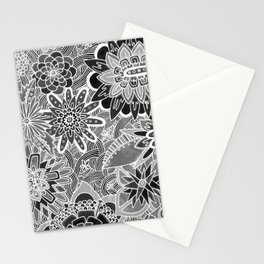 Chalkboard Flowers (Night Version) Stationery Cards
