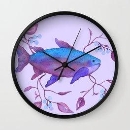 Spring Fishing Violet Blue Wall Clock