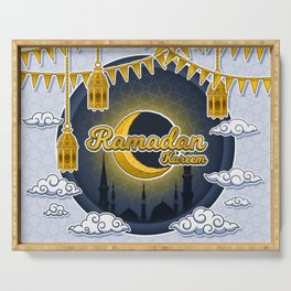 Ramadan Kareem in Golden 3D Word on The Crescent Moon and Silhouette Mosque of Prophet Muhammad's Serving Tray