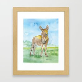 Donkey Watercolor Painting Framed Art Print