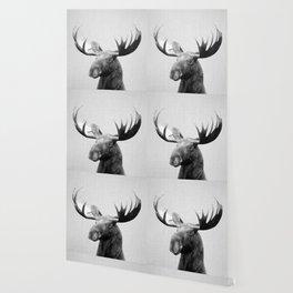 Moose - Black & White Wallpaper