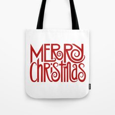 Merry Christmas Text red Tote Bag