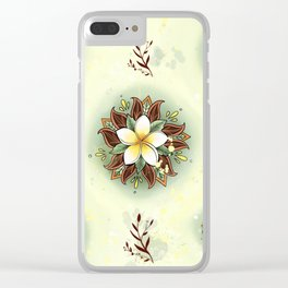 Plumeria Mandala Clear iPhone Case