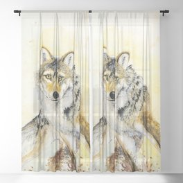 Totem Grey wolf Sheer Curtain