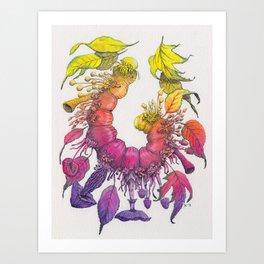 Caterpillar, Leaves and Mushrooms - Watercolor Illustration Art Print