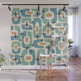 Mid Century Modern Cosmic Abstract 348 Blue Green Gold and Beige Wall Mural