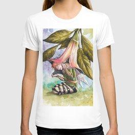 Fairy hiding under angel trumpet T-shirt
