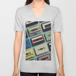 Cassette tape aerial view vintage style collection Unisex V-Neck