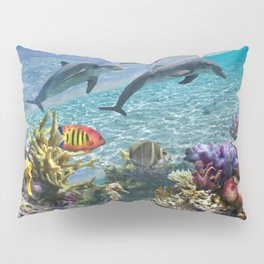 Coral Reef and Dolphins Pillow Sham