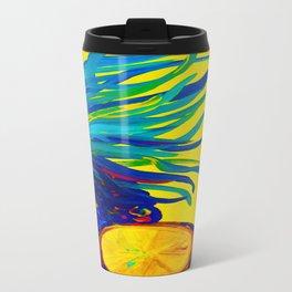 Blue Pineapple Abstract Travel Mug