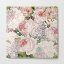 Vintage Roses and Lilacs Pattern - Smelling Dreams Metal Print