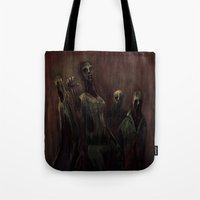 zombies Tote Bags featuring Zombies! by Adam Howie