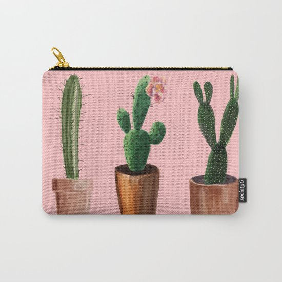 Three Cacti On Pink Background Carry-All Pouch
