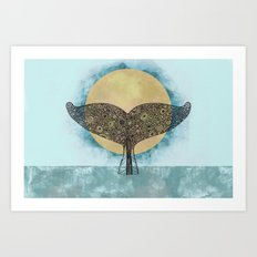 Sunset Whale Art Print