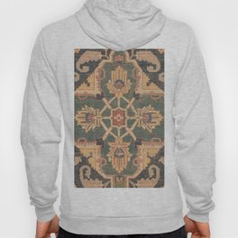 Geometric Leaves VI // 18th Century Distressed Red Blue Green Colorful Ornate Accent Rug Pattern Hoody