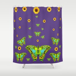 YELLOW SUNFLOWERS, GREEN MOTHS ON PURPLE Shower Curtain