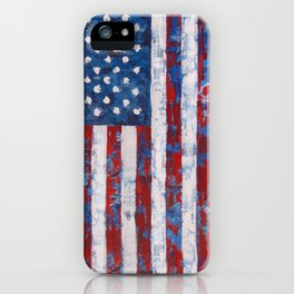 Distressed American Flag vertical hang iPhone Case