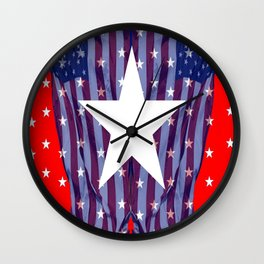 RED, WHIT , BLUE AMERICANA STARS Wall Clock