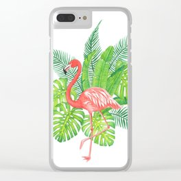 Flamingo Tropicale Clear iPhone Case