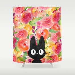 Jiji in Bloom Shower Curtain