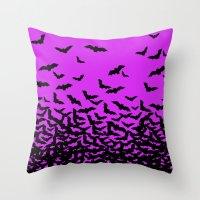 bats Throw Pillows featuring Bats by beach please