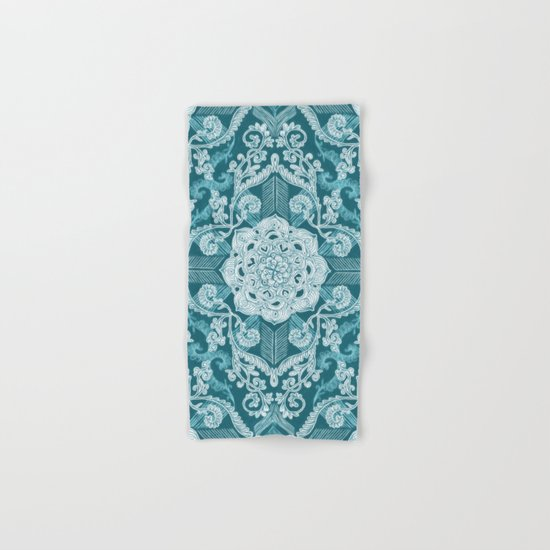 Centered Lace - Teal  Hand & Bath Towel