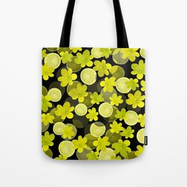 Lime and flowers on black Tote Bag
