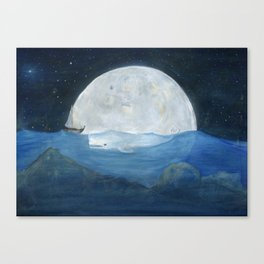The whale and the Moon Canvas Print