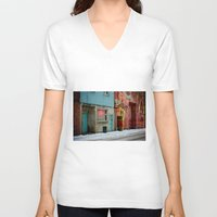 bar V-neck T-shirts featuring bar: open by lizbee