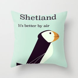 Shetland Puffin Vintage travel poster Throw Pillow