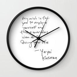 A wonderful note from Kusama (typography) Wall Clock