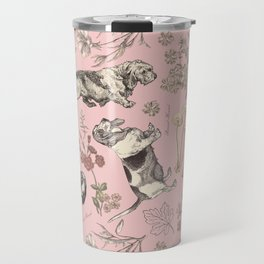 BASSET HOUND DOGS & MAGICAL MUSHROOMS - pink  Travel Mug