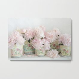 Shabby Chic Dreamy Pastel Peonies Floral Home Decor Metal Print