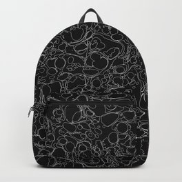 Black and White Ink Pen Lines Soap Bubbles Pattern Backpack