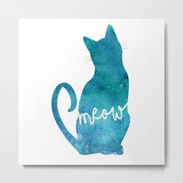 Watercolour Cat Silhouette Metal Print