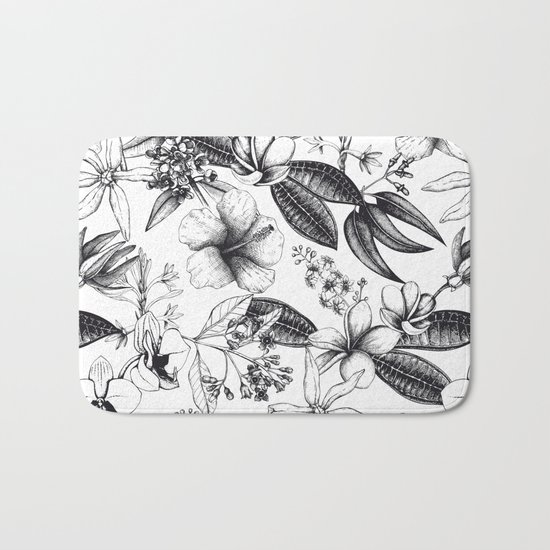 Black and White Vintage Tropical Flowers Pattern Bath Mat