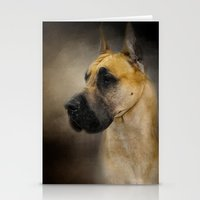 great dane Stationery Cards featuring Dashing Great Dane by Jai Johnson