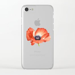 Poppy flower painting by #mahsawatercolor Clear iPhone Case