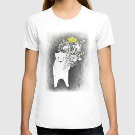 polar bear with flowers illustration T-shirt
