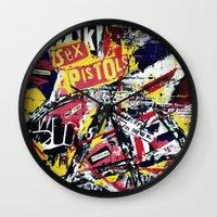 punk Wall Clocks featuring Punk by Frank van Meurs