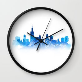 Chicago in Blue Wall Clock
