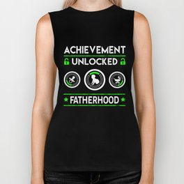 Achievement Unlocked Fatherhood For New Dad Father's Day Biker Tank
