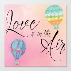 Love is in the Air - Watercolor Hot Air Balloons Canvas Print