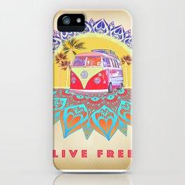 "BusLife Vintage Inspired ""Live Free"" Poster print iPhone Case"